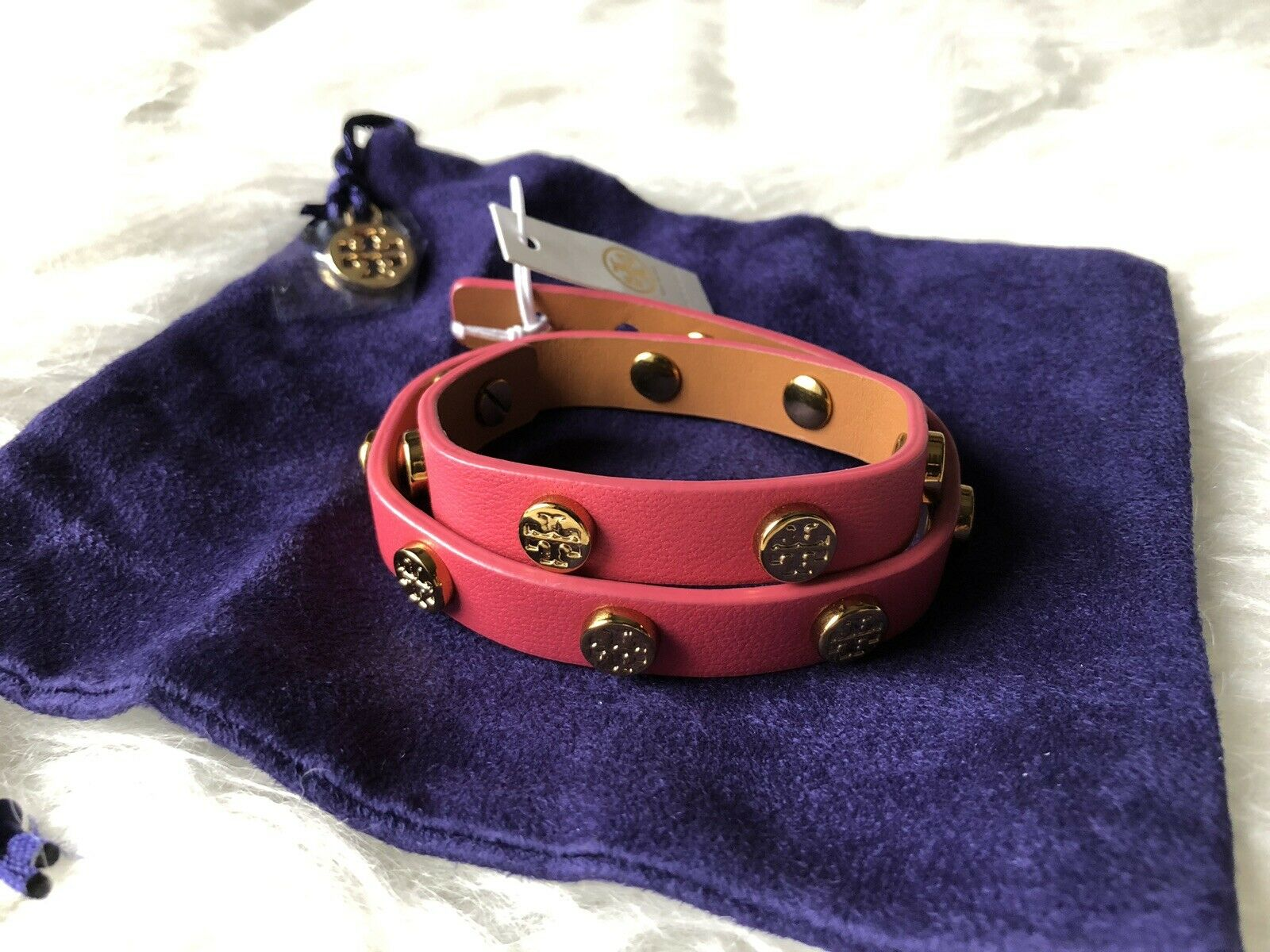 NWT Tory Burch Double Wrap Logo Stud Bracelet In Pink Leather + Dust Bag