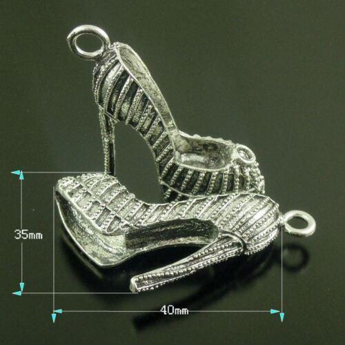 6pcs Antique Silver tone Alloy High Heels Necklace Charms Pendant 38625