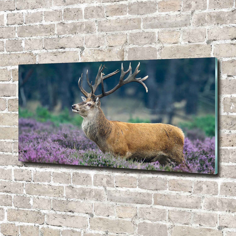 Acrylglas-Bild Wandbilder Druck 140x70 Deko Tiere Hirsch Lavendel
