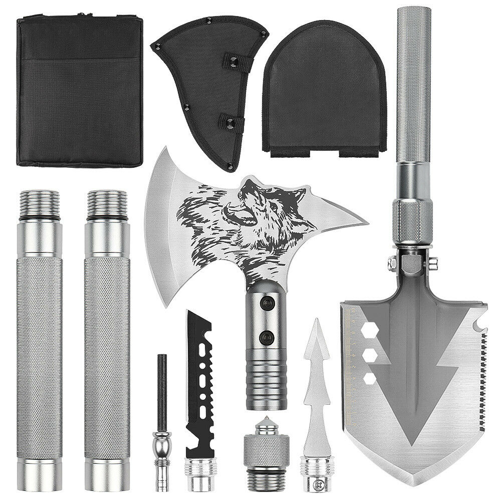Adjustable Multi-functional Folding Shovel  steel And Axe Field Survival Tool  discount store