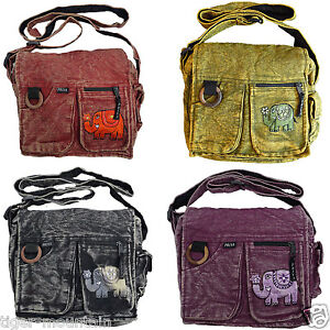 NEW-Hippy-Boho-ELEPHANT-Embroidered-Shoulder-Bag-with-pockets-cute-fun-pretty
