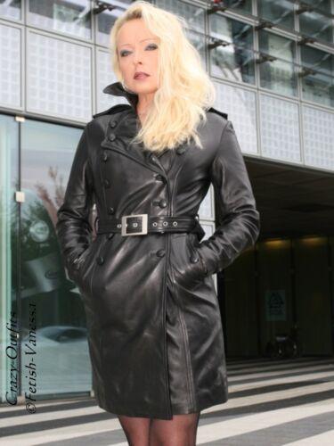 Cappotto pelle di misura Cappotto Su al di nero Lunghezza Trench pelle ginocchio rnapfqxa