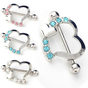 1 Pair Crystal Rhinestone Heart Body Nipple Bar Barbell Piercing Ring Jewelry