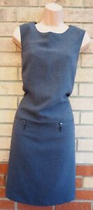 MARKS-SPENCER-GREY-ZIP-SIDES-SLEEVELESS-FORMAL-TAILORED-SHIFT-BODYCON-DRESS-14-L
