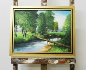 Painting-Nature-Forest-Bridge-Handmade-Oil-Picture-Frame-G96105