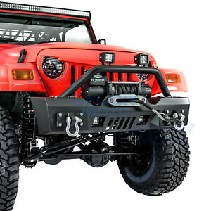 Rock-Crawler-Stubby-Front-Bumper-Winch-Plate-2pcs-LED-fit-97-06-Jeep-Wrangler-TJ