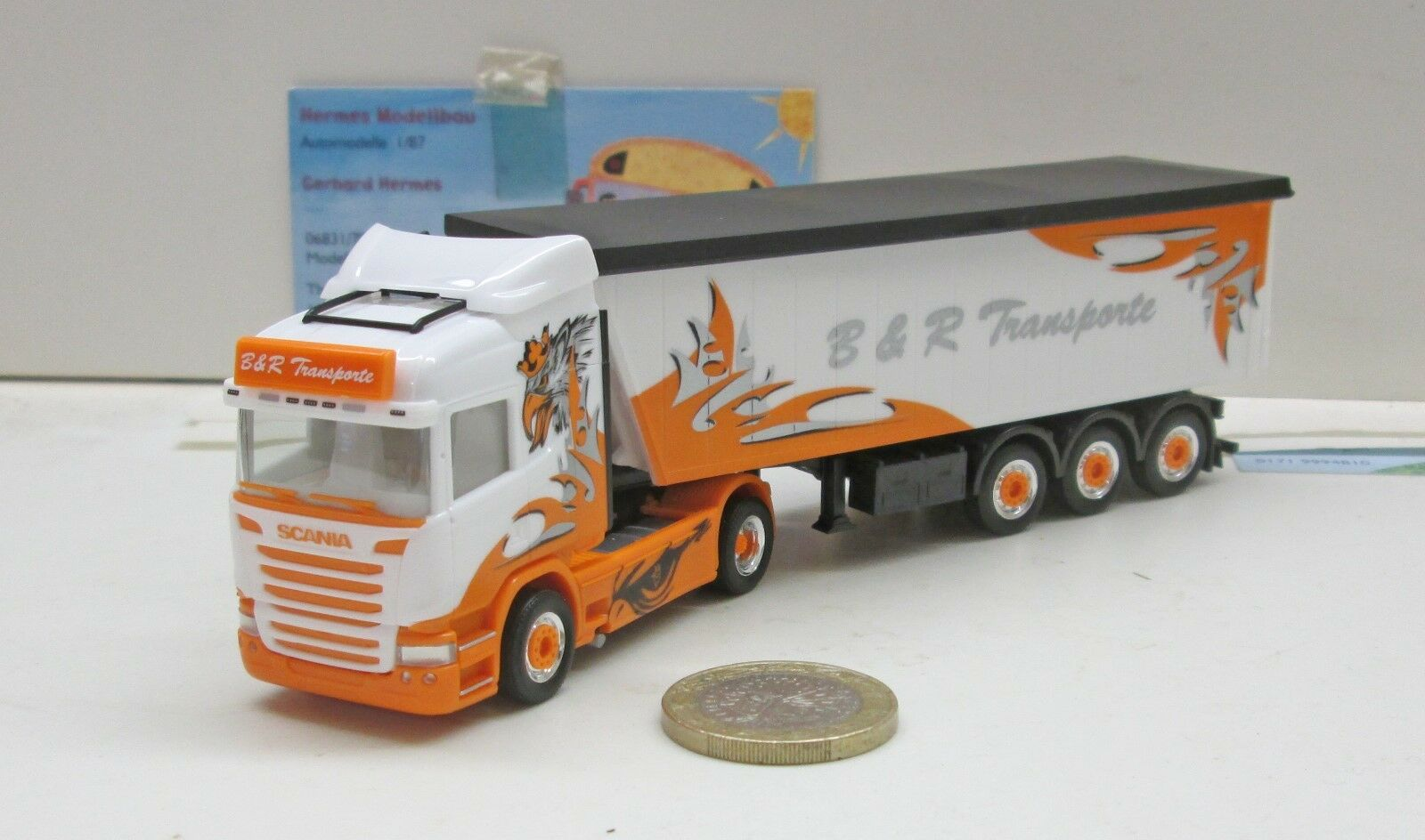Herpa 306287 scania R hl stöffelliner-remolcarse  b&r transportes Arrow hunter