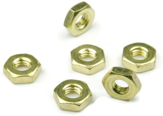 Qty 100 Brass Machine Screw Hex Nuts UNF #10-32