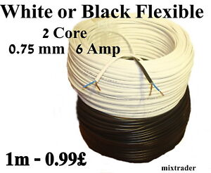 Mains Power Electric Cable 2 Core 0.75mm 6 Amp White Black Flat Flexible 2192Y