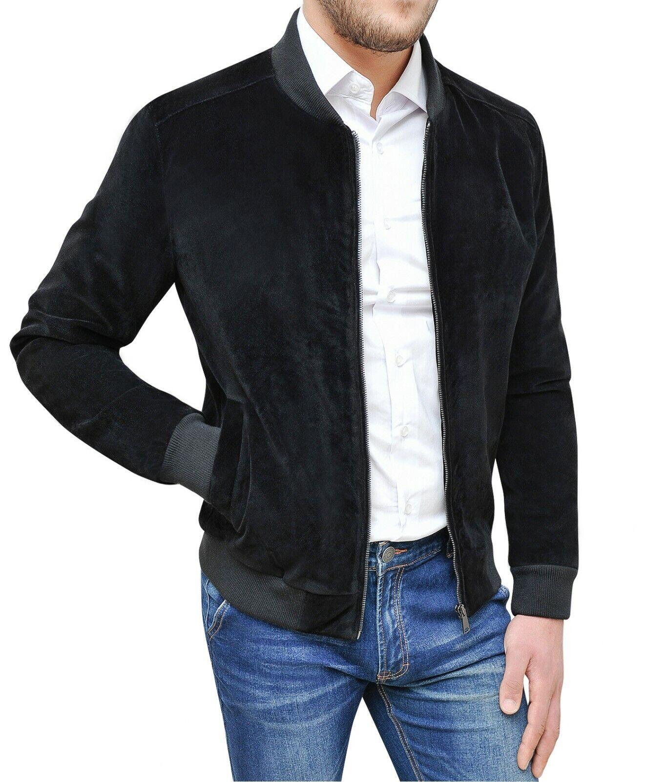 Mantel Jacke Herren Winter Schwarz Slim Fit Wildleder Größe S M L XL XXL