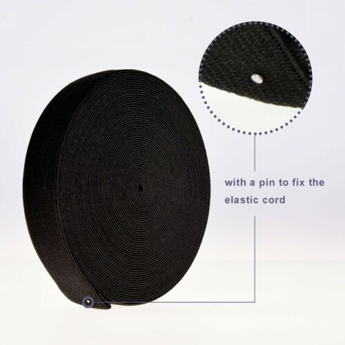 Elastic Flat Cord 25mm Black Waistband for Dressmaking Sewing Accessories Straps