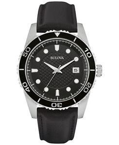 Bulova-Men-039-s-98B275-Quartz-Black-Leather-Strap-Sport-Watch