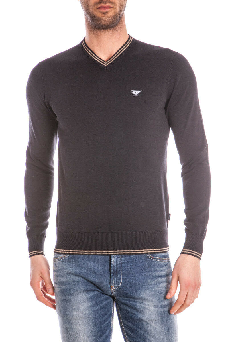 Maglia Maglietta Armani Jeans Sweater Pullover Cotone  Herren Nero C6W15VK 12