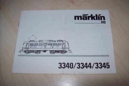 Märklin h0 3340 3344 3345 br 110 140 manual de instrucciones de manual de instrucciones