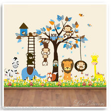 Animal Owl Jungle Monkey Wall Stickers Zoo Baby Nursery Children Bedroom Decals
