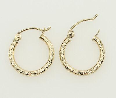 14K Solid Yellow Gold 3.5mm Wide Diamond Cut Hoop Earrings 15mm