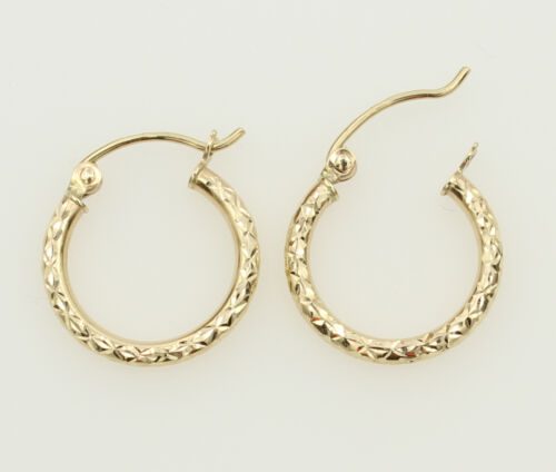 14K Yellow Gold 1.5mm Thick Small Diamond Cut Classic Hinged Hoop Earrings 15mm