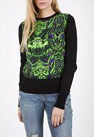 High Street Womens Printed Autumn Winter Black Jumper Top Sweater Size S-M-L