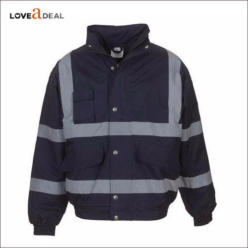 High Visibility Viz Quality Men Workwear Protective Padded Bomber Jacket Coat