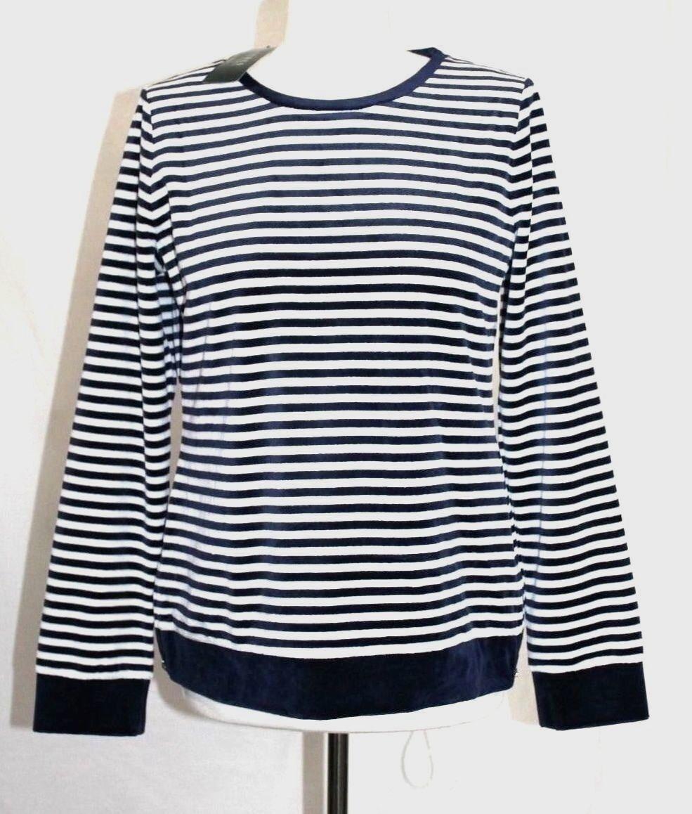Ralph Lauren - Womens L - NWT  89 - Navy Striped Velour Zipper Sweatshirt Top