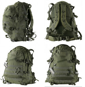 Army-Combat-Military-Special-Ops-Molle-Rucksack-Backpack-Day-Pack-Bag-Green-45L