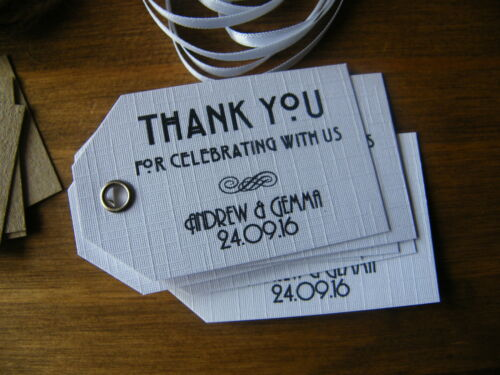 Vintage Art Deco themed Kraft//White Personalised Wedding Thank You Favour Tags
