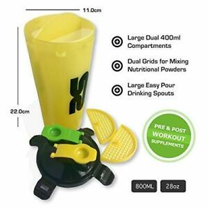 Protein-Shaker-Bottle-800ml28oz-Dual-Chamber-Cup-Yellow-Enjoy-Two-Drinks