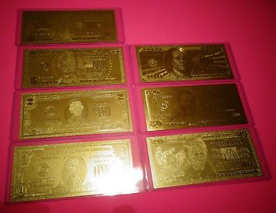 LOT OF 7; 24 KT  99.9% GOLD BILLS, $1-$2-$5-$10-$20-$50-$100 IN PVC BILL HOLDER.