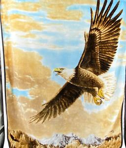 VTG Northwest Giordano Blanket Plush Aztec Eagle Afghan Throw 50x60 Americana
