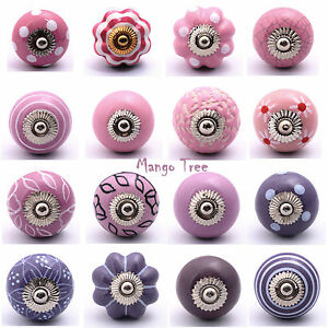 Pink Purple Cupboard Knob Cabinet Knobs Door Handles Pull Ceramic A MP