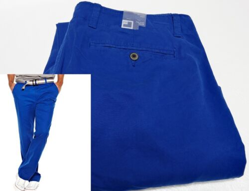 JCP mens  Fierce Blue Relaxed Fit Flat Front Ultimate Khaki pants 34 36 NEW