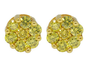 Ladies-10K-Yellow-Gold-Flower-Irradiated-Canary-Diamond-Stud-Earring-1-0ct-6-5MM