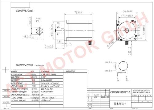 En stock 1pc nema 23 motor PAP 23hs8430d8p1-5 3a 76mm 270oz-in φ8mm D-Shaft