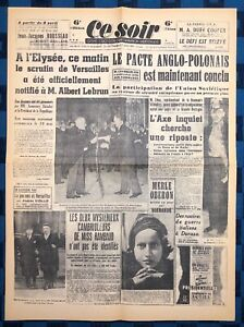 La-Une-Du-Journal-Ce-Soir-7-Avril-1939-Reelection-D-Albert-Lebrun