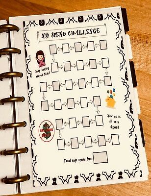 No Spend Challenge Two Sided Dashboard Insert for use with Happy Planner