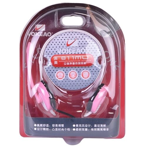 Retail Box Voiceao 811MU Behind-the-Head Stereo Headphones w//Boom Mic Pink