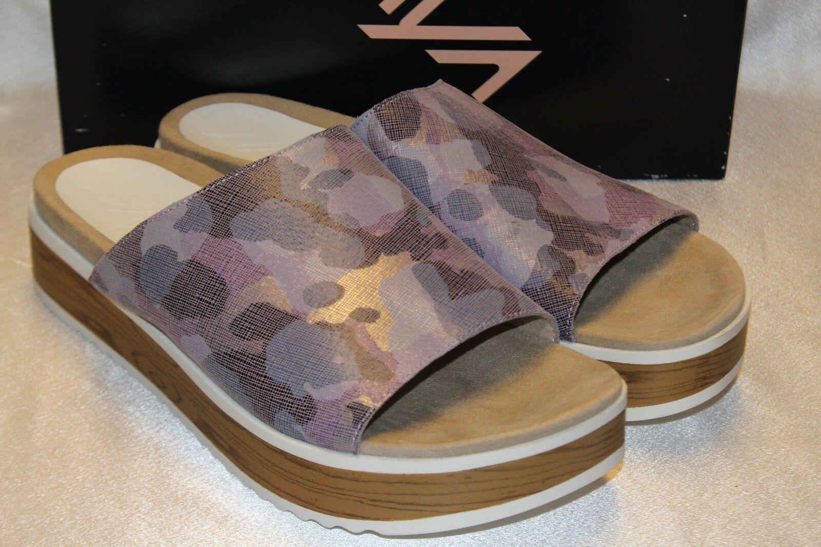 NEW  NIB  NAYA Metallic Lt Purple Purple Purple Camo Leather URSA Slides Sandals 7 8.5 11 c36044