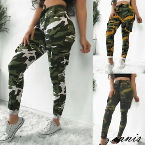 modern techniques new style of 2019 high fashion Details about Womens Plus Size Stretch Drawsting Army Camo Camouflage  Skinny Jeans cargo Pants