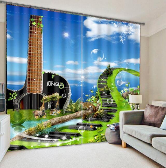 Piano Guitarra 3D 56 Cortinas de impresión de cortina de foto Blockout Cortinas Ventana De Tela