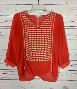 Collective-Concepts-Stitch-Fix-Womens-XS-Extra-Small-Coral-Fall-Top-Blouse-Shirt