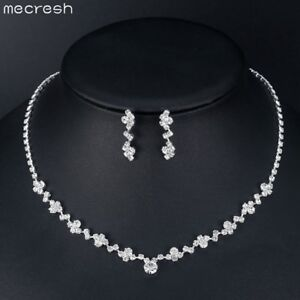 Mecresh Statement Clear Crystal 6 Layers Wedding Necklace Earring Jewelry Set