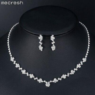 Mecresh Elegant Simple Clear Crystal Wedding Necklace Earring Set