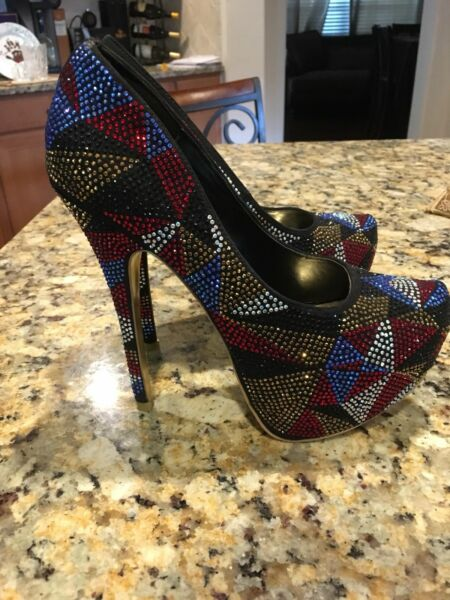 1f65e428fe5d Shi by Journeys Black INSANITY Platform Heels Women s Shoes Sz 8.5. Hover  to zoom