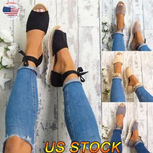 US-Women-039-s-Ankle-Flatform-Wedges-Shoes-Espadrilles-Fashion-New-Platform-Sandals