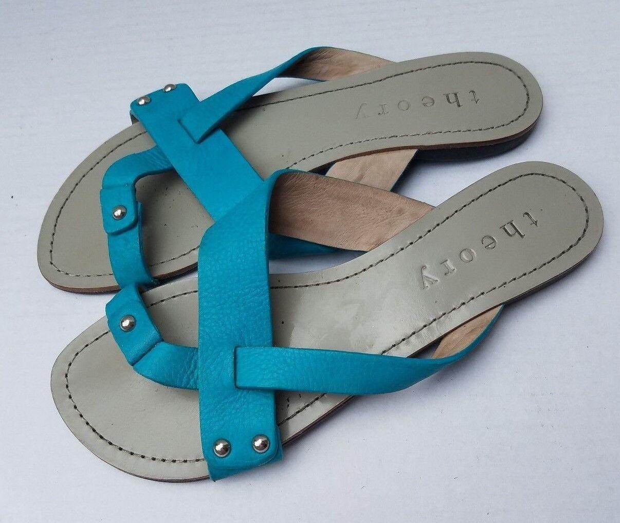theory Toe Flat Sandales Leder Slip On Teal Blau Damenschuhe 38 Flip Flops Brazil