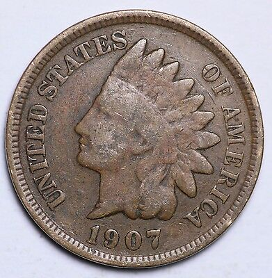 1907 Indian Head Cent Penny Circulated Good-Very Good US Coin