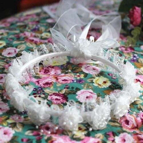 Flower Girls Headband Wedding Tiara Garland Child Rose Ribbon Lace Headpieces