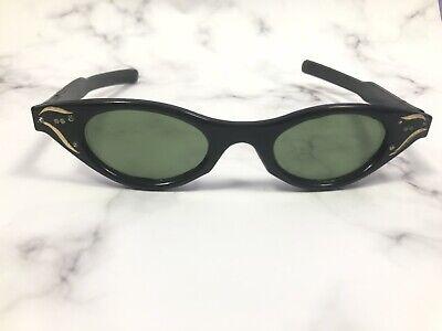 1de1b39e3f0ec7 Vintage 1950s Cat-Eye Sunglasses Black Plastic Gold Accent | eBay