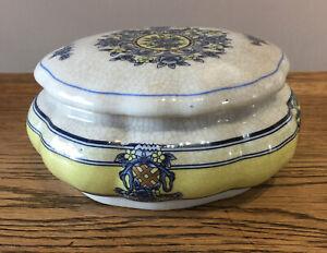 Ceramic-Large-Lidded-Trinket-Dish-Blue-amp-Lemon-Floral-17x8-Cm-Vintage-Style