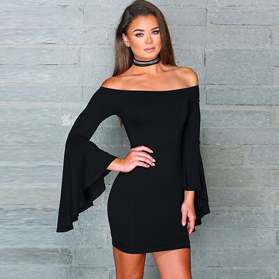 Women Flare Sleeve Off Shoulder Bandage Bodycon Evening Cocktail Party Dress